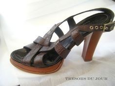 Carel Paris Brown Leather SlingBack Open Toe High-Heeled Shoes Size 9  #BrownSlingBackShoes #BrownOpenToedShoes