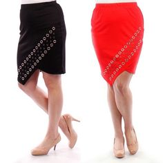 SALE! 🎉 Plus size stretch pencil skirt NWT. Ultra chic and comfortable women's plus size knit pencil skirt with interesting silver details. Features an elastic waistband and an all over stretchy fabric for a perfect fit! Available in Black or Coral. SIZE GUIDE: 1X: 14W - 16W. 2X: 18W - 20W. 3X: 22W - 24W. Made in USA. Fabric Content: 96% Polyester, 4% Spandex Skirts Pencil