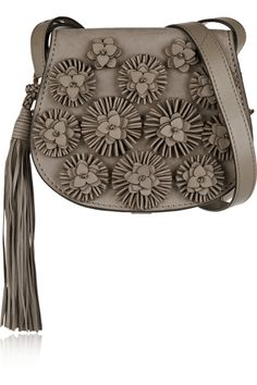Tory Burch | Floral-appliquéd nubuck shoulder bag | NET-A-PORTER.COM