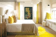 Love the yellow and natural colors in this bedroom. Blog post from Yellow House on the Beach.
