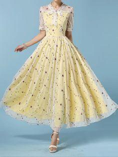 Ericdress Ladylike Floral Print Short Sleeve Maxi Dress Maximum Style