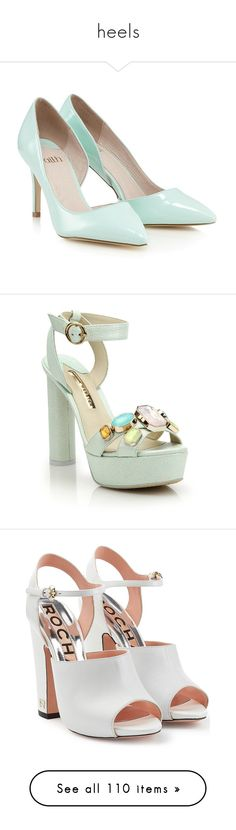 """""""heels"""" by esms ❤ liked on Polyvore featuring shoes, pumps, heels, heels and boots, mint pumps, d'orsay shoes, mint green shoes, mint green heels shoes, mint green pumps and sandals"""
