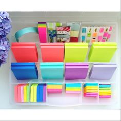 Compartment Organizers 50 Ways -- Day 25: organized post-it's. Sticky notes, flags, book marks and tabs...organized, easy to find and wrinkle free. But those colors tho.  (organizer is a 17-compartment box with removable dividers from @acehardware) #compartmentorganizers50ways #organized #easy