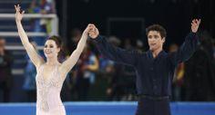 Tessa Virtue and Scott Moir finish ice dance free dance program at Sochi 2014 Winter Olympics