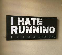 Race Medal Holder I HATE RUNNING by RunningByTheSea on Etsy