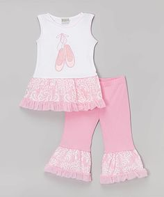Look at this Pink & White Ballet Tunic & Pants - Infant, Toddler & Girls on #zulily today!