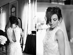 Embellished wedding dress with slit in the back. Photo: Annemari Ruthven