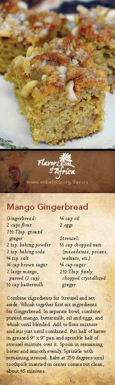 Mango Gingerbread. With extra mangoes, since it's mango season in Hawaii...hubby gave thumbs up!