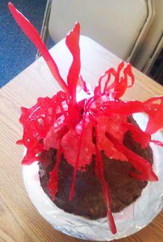 tutorial: how to make a volcano cake