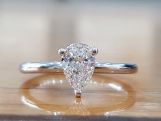 CT Pear Cut Diamond White Gold Over Solitaire Engagement Wedding Ring 8 Pear Diamond Engagement Ring, Pear Shaped Engagement Rings, Engagement Ring Shapes, Solitaire Diamond, Diamond Rings, Solitaire Rings, Diamond Jewelry, Jewelry Rings, Ring Set