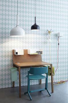 mommo design blog - Harlequin Wallpaper **Love this idea for my future teenage boy's room**