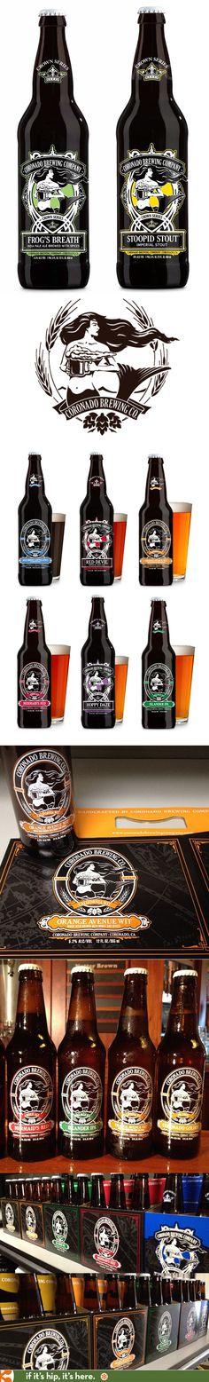 Coronado Brewing Companies' silk screened bottles for their Crown Series collection. Mermaid logo and fun names.