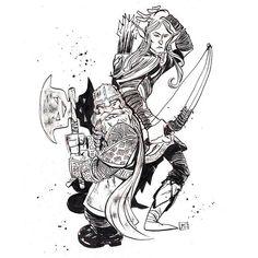 Gimli and his best bud Legolas.  # # Drawn using @artemscribendi's awesome pen holder and  @pentelofamerica and noodler's ink fountain pen  # # #periscope #comics #commissions #artemscribendiholder #artist #artistofinstagram #artistoninstagram #art #drawordie #drawdaily #drawventure #dippen  #mrjaymyers #pentel #pentelsecrets #modmypentel  #augustinks #lotr #gimli #legolas #elf #dwarf #battle #challenge