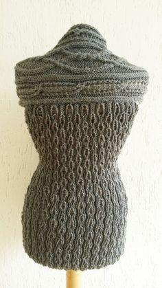 Hand knit sweater Woman vest Grey by Giezen on Etsy $50