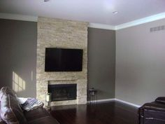 Accent wall requested – Contemporary – Family Room – Detroit – Jill J. Yellow Accent Walls, Stone Accent Walls, Accent Wall Colors, Accent Walls In Living Room, Accent Wall Bedroom, Living Room With Fireplace, Living Room Grey, Small Living Rooms, Living Room Modern