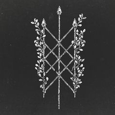 Web Of Wyrd with spears, ropes and vines to symbolize that our fate consists of war and regrowth, tied in with ropes in an endless cycle Norse Tattoo, Viking Tattoos, Love Tattoos, Black Tattoos, Tatoos, Traditional Tattoo Black And White, Herb Tattoo, Cute Tats, Muster Tattoos