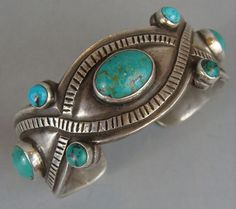 GORGEOUS Heavy Vintage Style Turquoise Bracelet By JESSE ROBBINS Creek Tribe #JesseRobbins