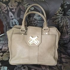 """BOGO FREE  Deux Lux Taupe Purse Taupe with gold hardware in excellent condition! Very roomy canvas lining with zip and patch pockets. Rolled handles, 7"""" drop. Overall size 11"""" H x 17"""" W.Buy one get one free of equal value or less any items with symbol ***Bundle Discount Doesn't Apply Bags"""