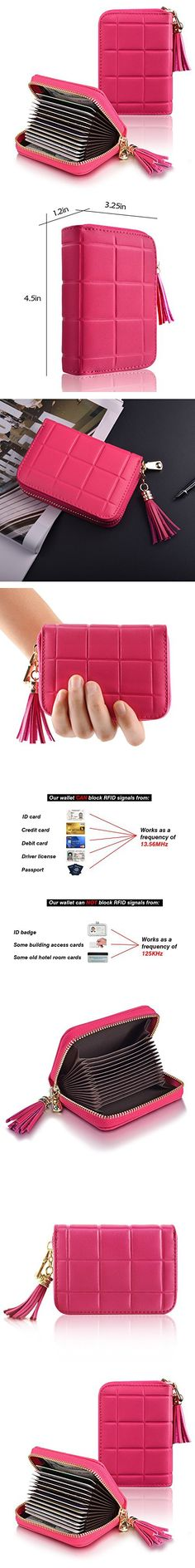 Genuine Leather Accordion Zipper Wallet for Men and Women, Security Card Holder for Travel and Work, RFID Blocking Wallet for Credit Cards, Business Cards, Driver License, and Money Pendant Rose Red