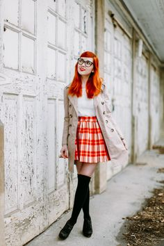 Plaid skirt + trench coat + thigh highs, could end up looking a little hooker-y The Clothes Horse
