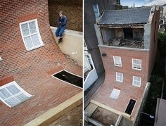 Created by British designer Alex Chinneck, this fun intervention creates the illusion that a brick facade has melted right off the side of a building and into the front yard - Margate, UK