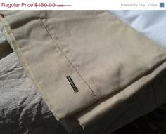 ON SALE 50s French Pure Linen Sheet - Unused - Handmade - Worked Edge - Light Tan Color - 2 pers. - Large Size 88 X 126 in