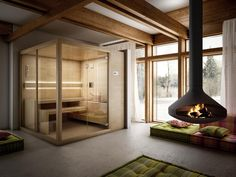 Arja #finnish #saunas have  two large glass walls to enhance the #design of the interiors
