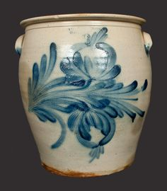 6 Gal. COWDEN & WILCOX / HARRISBURG, PA Stoneware Crock with Floral Decoration -- Lot 517 -- July 20, 2013 Stoneware Auction -- Crocker Farm, Inc.