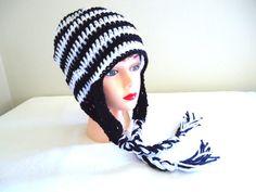 Earflap beanie black crocheted woman's beanie by KeishasKreativity, $20.00