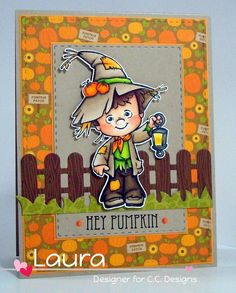 Roberto's Rascals Scarecrow Henry, AmyR Spooked Out Sentiments, C.C. Cutters Four Seasons Fence Die, C.C. Designs Autumn Enamel Dots, Doodlebug Fall Friends 6x6