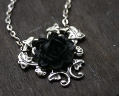 Black Rose Necklace - Gothic Steampunk Neovictorian. $24.00, via Etsy.