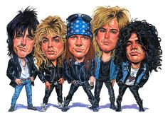 Guns And Roses Painting - Guns N Roses by Art Guns And Roses, Funny Caricatures, Celebrity Caricatures, Cartoon Faces, Funny Faces, Pochette Album, Heavy Metal Music, Axl Rose, Rose Art