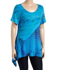 Look at this #zulilyfind! Blue Abstract Sidetail Tee - Plus #zulilyfinds