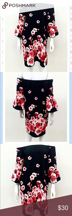 COMING SOON! Cherry Blossoms Off Shoulder Dress  Beautiful, Stunning Cherry Blossoms Off Shoulder Dress Corral Blossoms, 100% Polyester, Made in USA, Limited Quantities.   Perfect Holiday  Party Dress. Dresses Midi