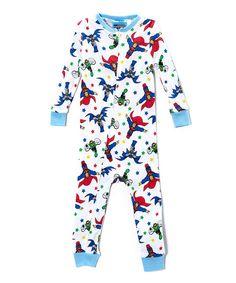 White & Light Blue Super Friends Bodysuit - Infant