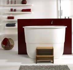 Sit and soak in this stylish Japanese bath tub, by Victoria & Albert. Inspired by the traditional Japanese ofuro tubs, the Sorrento sit bath features Japanese Soaking Tubs, Japanese Bath, Sorrento Victoria, Victoria And Albert Baths, Contemporary Bathroom Designs, Dream Bath, Soaker Tub, Vanity Sink, Bath Design