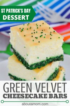 Looking for St Patrick's Day recipe ideas? These Green Velvet Cheesecake Bars are a yummy and easy St Patrick's Day dessert. Other Recipes, Great Recipes, Easy Desserts, Dessert Recipes, St Patrick Day Treats, St Patricks Day Food, Cheesecake Bars, Savoury Cake, Green Velvet