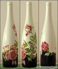 how to fabric decoupage wine bottle Glass Bottle Crafts, Wine Bottle Art, Painted Wine Bottles, Bottles And Jars, Decoupage Glass, Decoupage Art, Decoupage Ideas, Jar Art, Altered Bottles