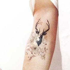 Deer With Flowers Arm Tattoo