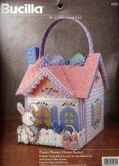 Bucilla Needlecraft Easter Bunny House Basket Plastic Canvas Vintage 1996 for sale online Plastic Canvas Books, Plastic Canvas Tissue Boxes, Plastic Canvas Crafts, Plastic Canvas Patterns, Basket Crafts, Crochet Home, Easter Baskets, Holiday Baskets, Baskets On Wall