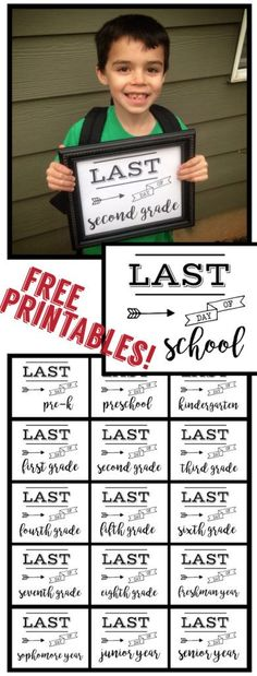 Last Day of School Sign Free Printable poster. Preschool, Kindergarten, First Grade, through Senior year. Print this sign for last day of school pictures. Pre K Graduation, Kindergarten Graduation, Seventh Grade, Eighth Grade, Grade 1, Kindergarten First Day, Preschool Kindergarten, End Of School Year, Back To School
