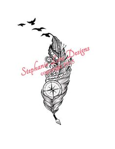 Custom Tattoo Illustration; Wanderlust design with a compass and quill feather pen and paisley/lace touches https://www.facebook.com/StephanieLowDesigns kepeann@gmail.com