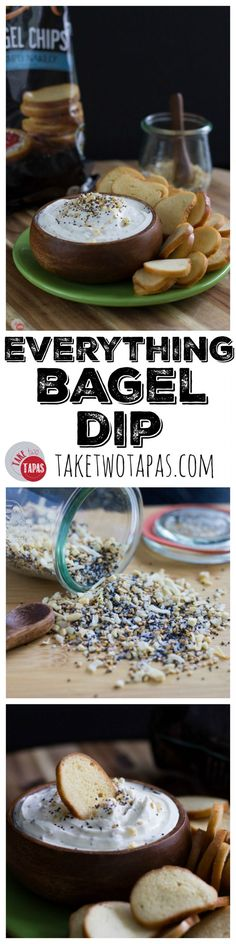 """Your favorite Everything Bagel and """"shmear"""" are now a dip! Cream cheese and sour cream combine with Everything Bagel Seasoning to bring it all together! Serve with bagel chips for the complete experience! Everything Bagel Dip with Bagel Chips Recipe   Tak"""