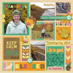 Thanksgiving walk. Right Page of a double. Kit is Autumn Crush by Lisa Rosa Designs and Template is Stronger (freebie) by Kim B. Designs.   Digital Scrapbook Layout by Kaytea.