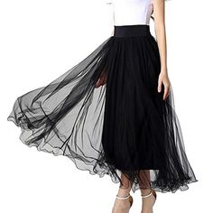Women's Night Out Skirts - MML Womens Elastic Waist Gauze Tulle Ball Gown Big Swing OL Long Maxi Skirts >>> Be sure to check out this awesome product.