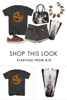 """""""Untitled #3245"""" by roseunspindle ❤ liked on Polyvore featuring Levi's, Converse, Beloved, Halloween, shorts, grey and pumpkin"""