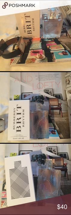 """Burberry Brit Rhythm for Her EDT 50ml/1.6 oz Sprayed 3x. Beautiful but I find I rarely reach for it. Beautifully cosy scent. From Sephora: """"Brit Rhythm Floral is a sensual, floral fragrance with an unexpected fruity twist. Fresh top notes of orchard fruit, Sicilian lemon, and orange open up to an intoxicating heart of Egyptian jasmine, lotus blossom, and dewy lilac. Base notes of ambery woods, driftwood, and musk give a sultry dry down."""" Burberry Makeup"""