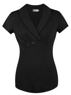 Looking for Ninedaily Women Lapel V Neck Button Elegant Short Sleeve Tunic Business Blouse ? Check out our picks for the Ninedaily Women Lapel V Neck Button Elegant Short Sleeve Tunic Business Blouse from the popular stores - all in one. Blouse Styles, Blouse Designs, Mode Swag, Bluse Outfit, Work Attire, Black Blouse, Dress Patterns, African Fashion, Shirt Blouses