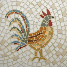 Traditional Cockerel Mosaic Card  Blank Greetings by LAMosaicGifts