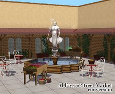 """TS3Store """"Al Fresco Street Market"""" set converted for TS2.(+ recolours)  This set includes a foutain, eight decorative objects (four wall c..."""